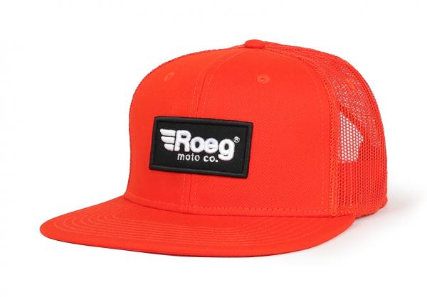 Roeg Black Snapback Cap Orange Front Left