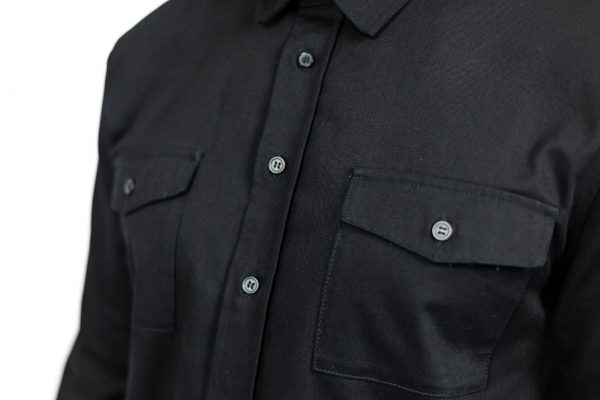 CLUTCH MOTO RECON SHIRT BLACK FRONT CHEST DETAIL
