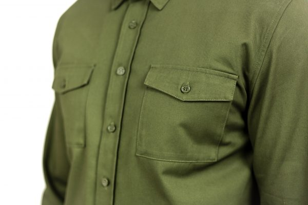 CLUTCH MOTO RECON SHIRT MILITARY GREEN FRONT CHEST DETAIL