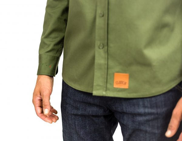 CLUTCH MOTO RECON SHIRT MILITARY GREEN FRONT DETAIL