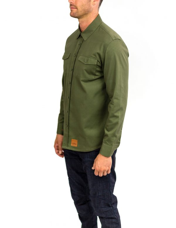CLUTCH MOTO RECON SHIRT MILITARY GREEN FRONT SIDE